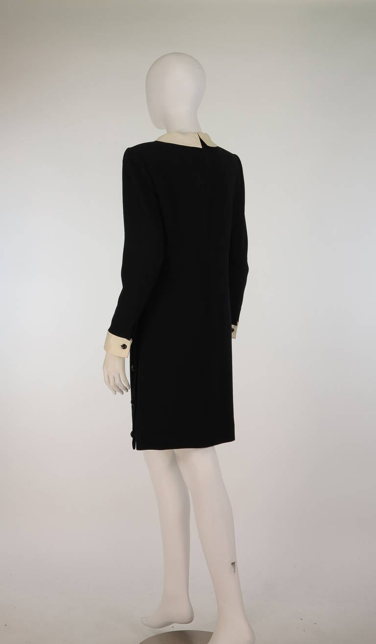 1980s Valentino black wool crepe collar & cuff dress For Sale 3