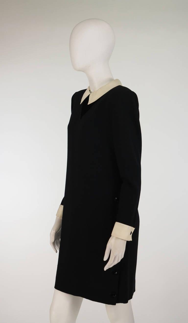 1980s Valentino black wool crepe collar & cuff dress 8