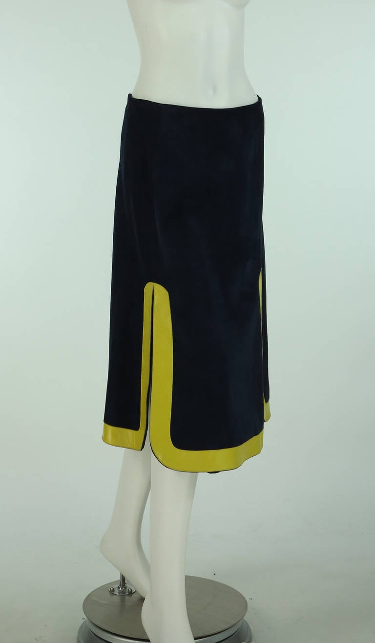 1960s Pierre Cardin space age blue suede and yellow leather skirt 2