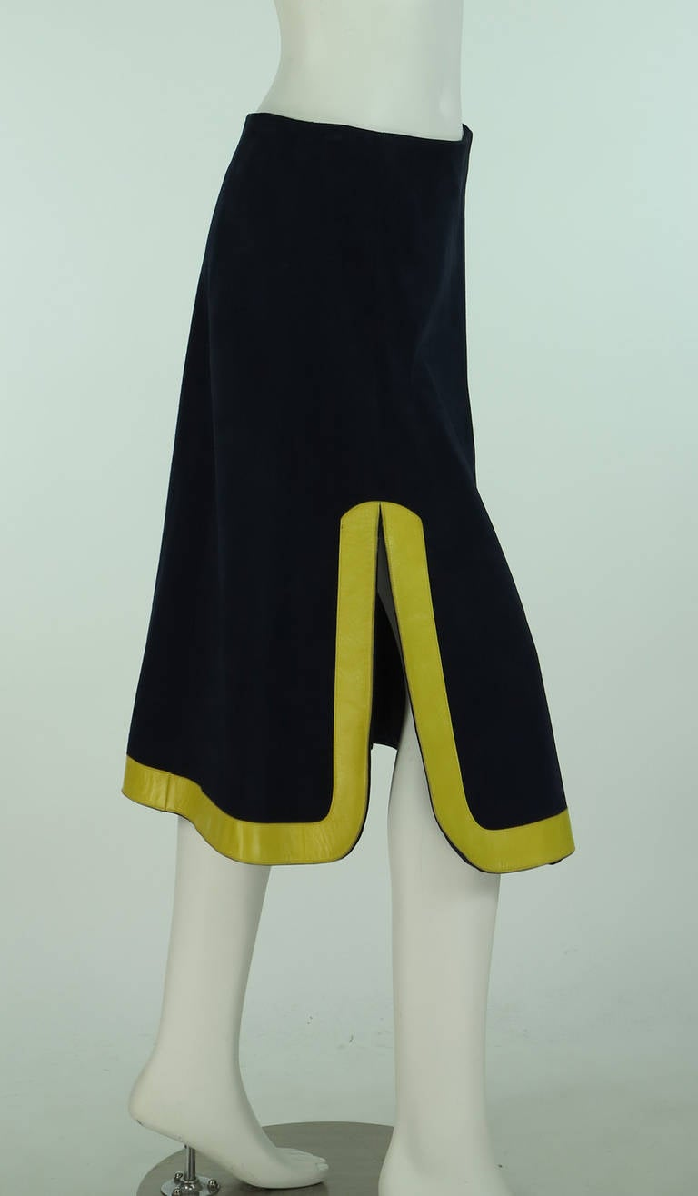 1960s Pierre Cardin space age blue suede and yellow leather skirt 3
