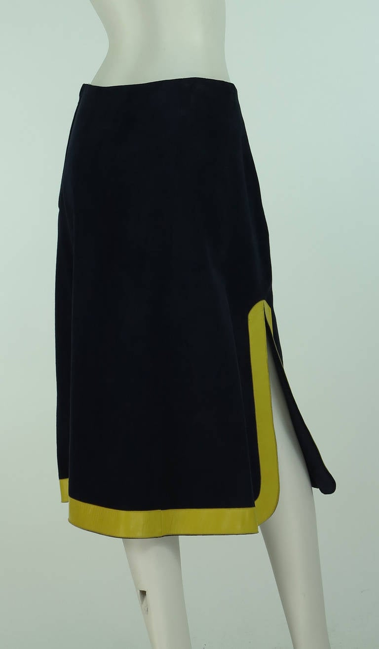 1960s Pierre Cardin space age blue suede and yellow leather skirt 4
