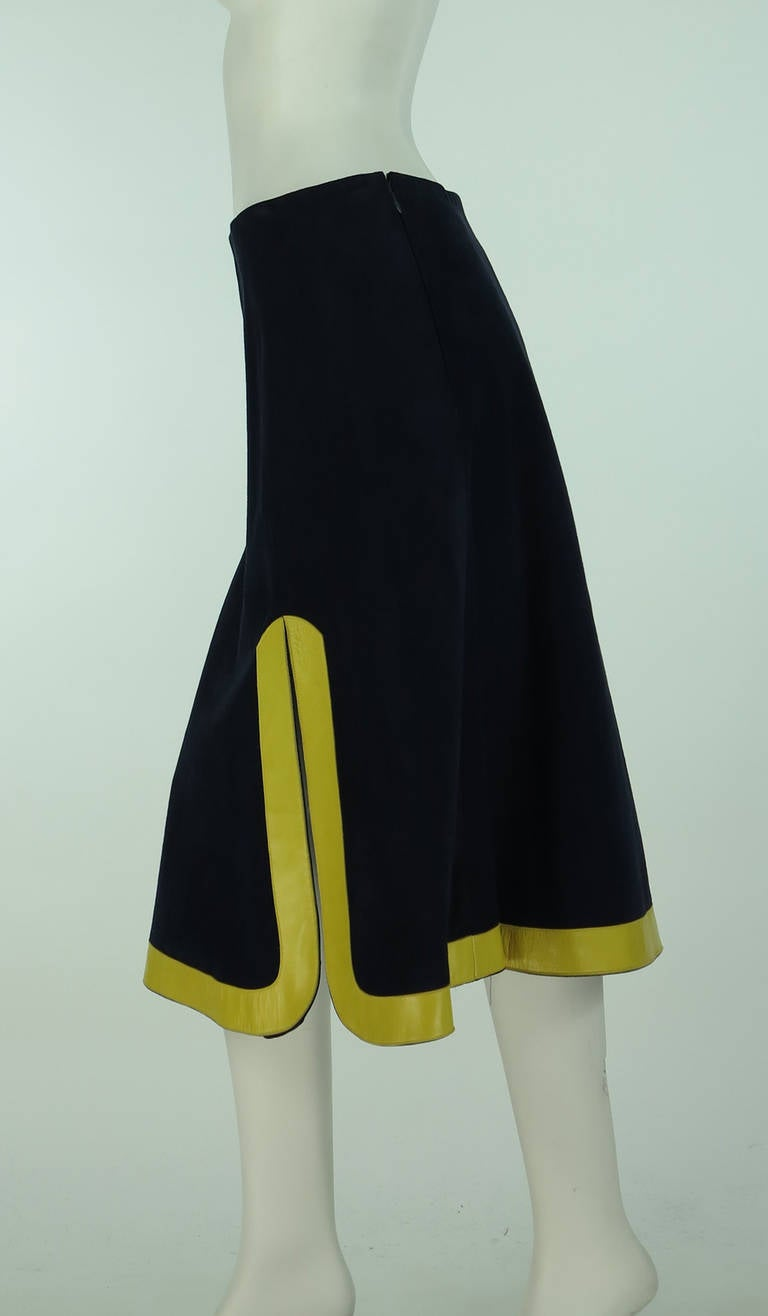 1960s Pierre Cardin space age blue suede and yellow leather skirt 6