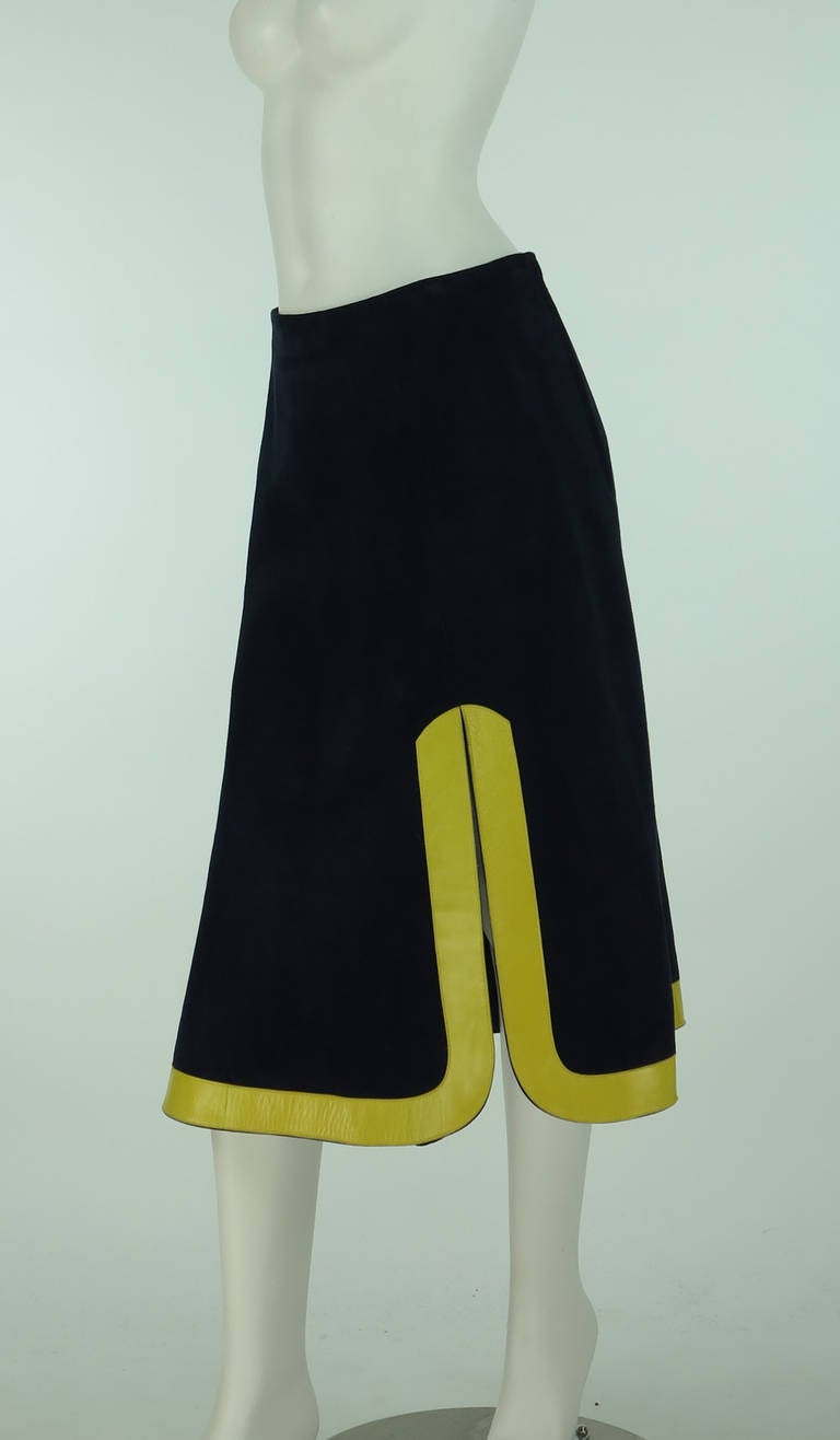 1960s Pierre Cardin space age blue suede and yellow leather skirt 7