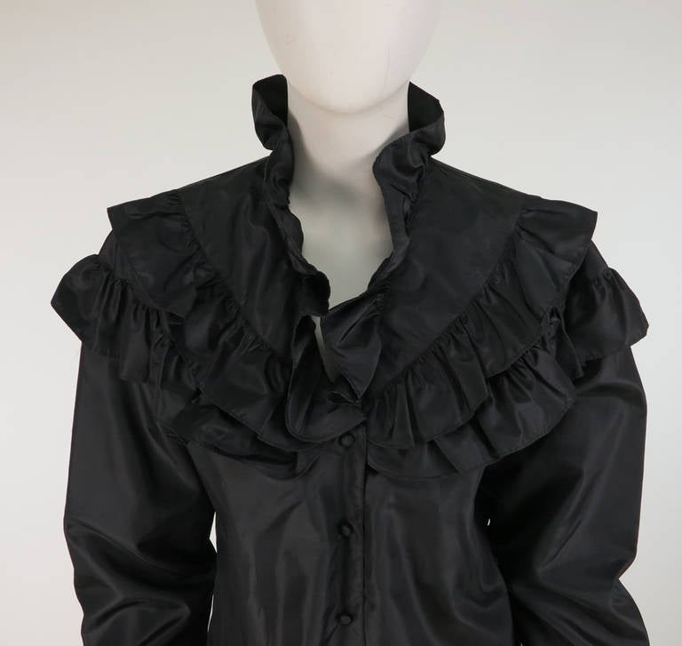 1980s Regina Porter black silk evening blouse 7