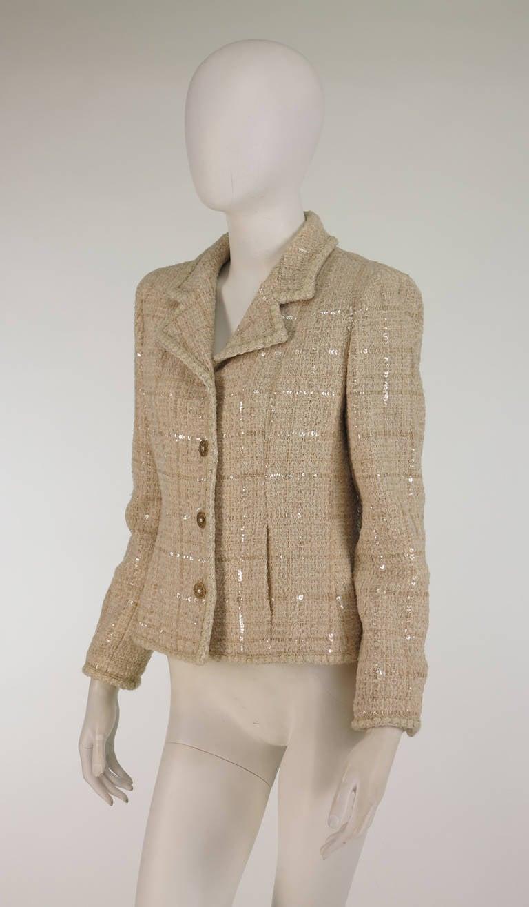 2001 Chanel cream tweed & sequin jacket 2