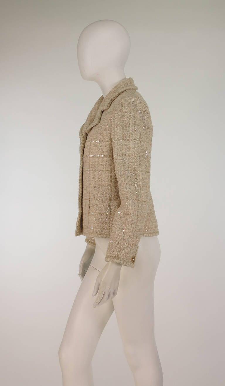2001 Chanel cream tweed & sequin jacket 3