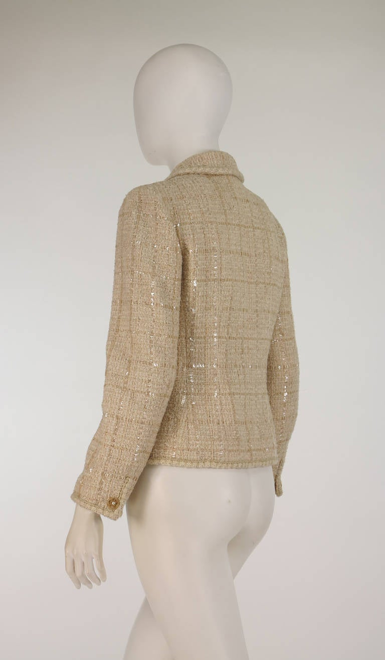 Women's 2001 Chanel cream tweed & sequin jacket For Sale