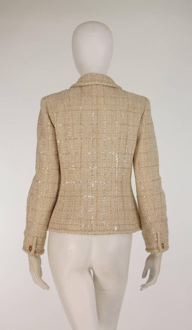 2001 Chanel cream tweed & sequin jacket 5
