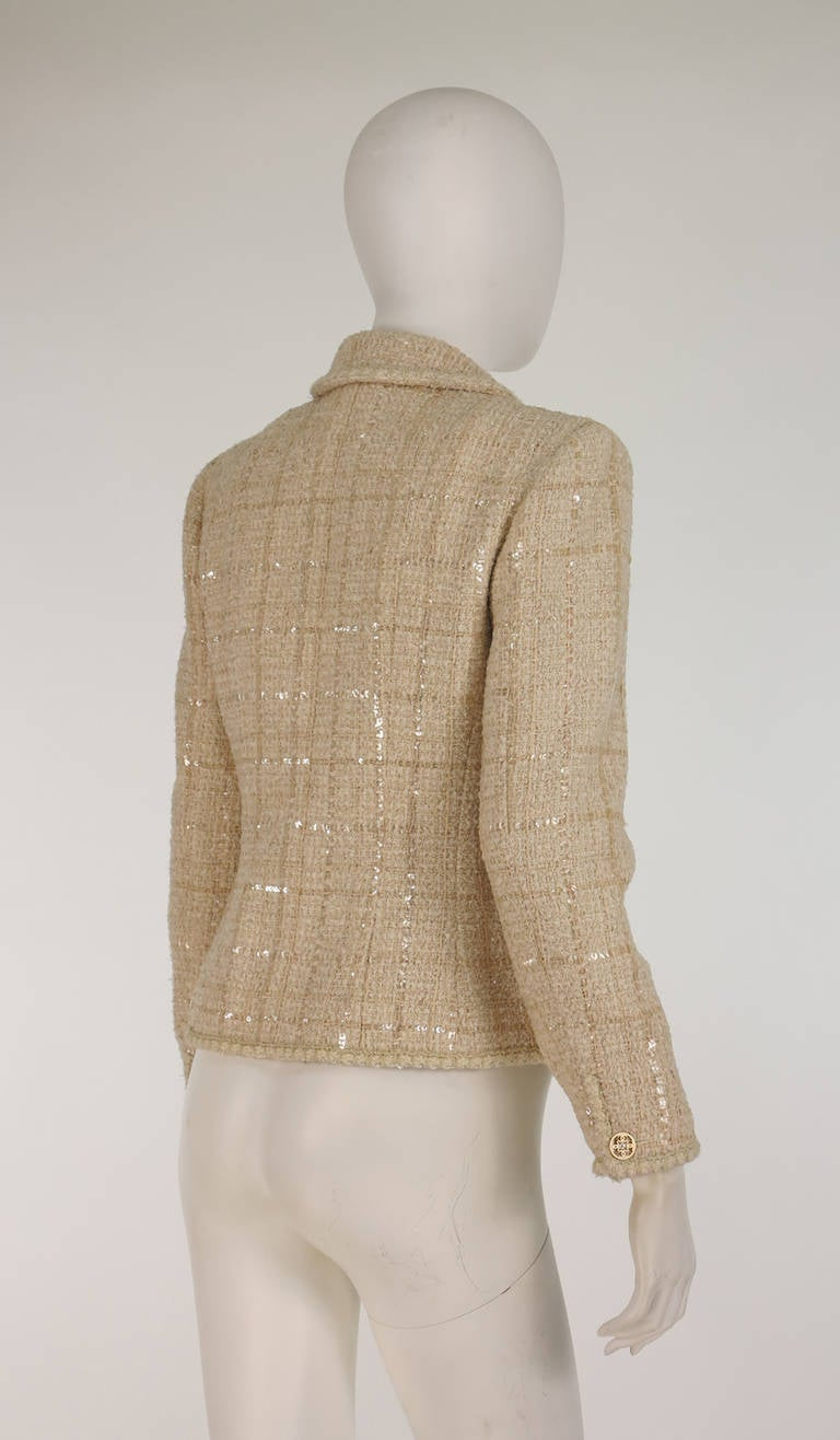 2001 Chanel cream tweed & sequin jacket For Sale 2