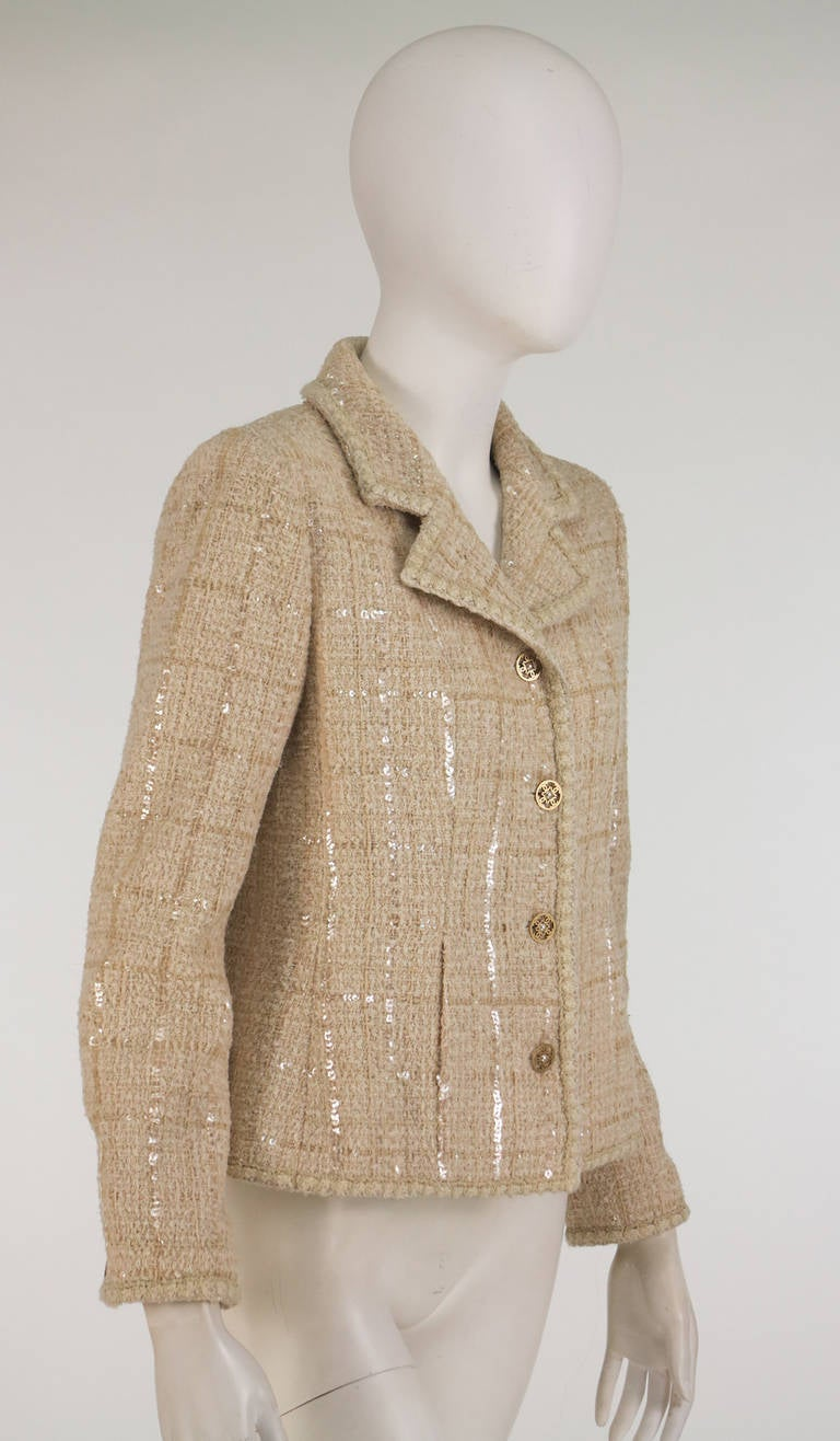 2001 Chanel cream tweed & sequin jacket For Sale 4