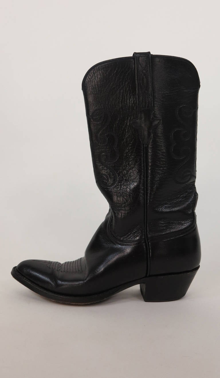 lucchese black leather cowboy boots at 1stdibs