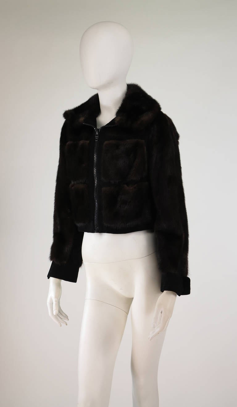 1970s BIRGER CHRISTENSEN black mink & suede cropped fur jacket 2