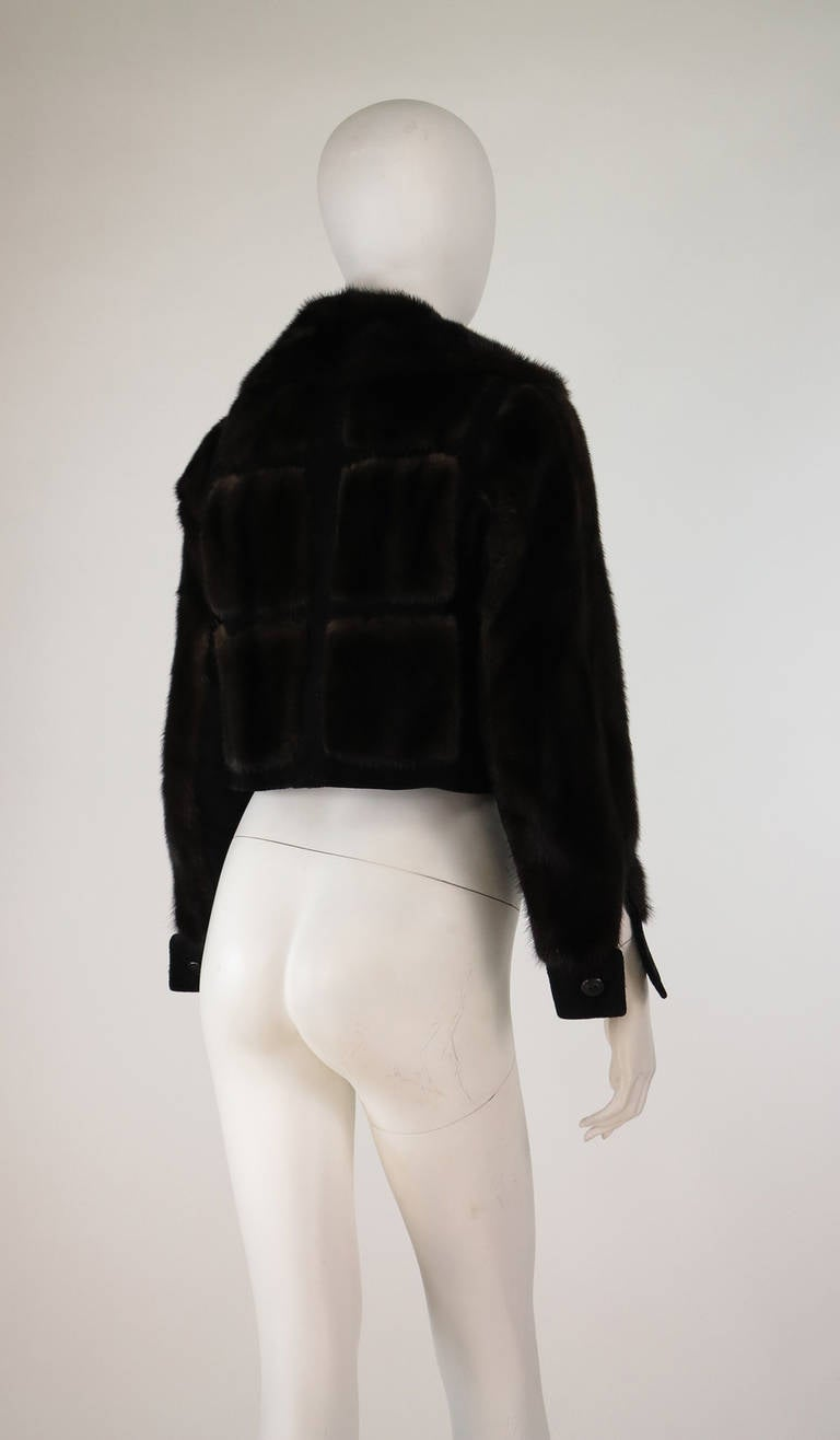 1970s BIRGER CHRISTENSEN black mink & suede cropped fur jacket 6