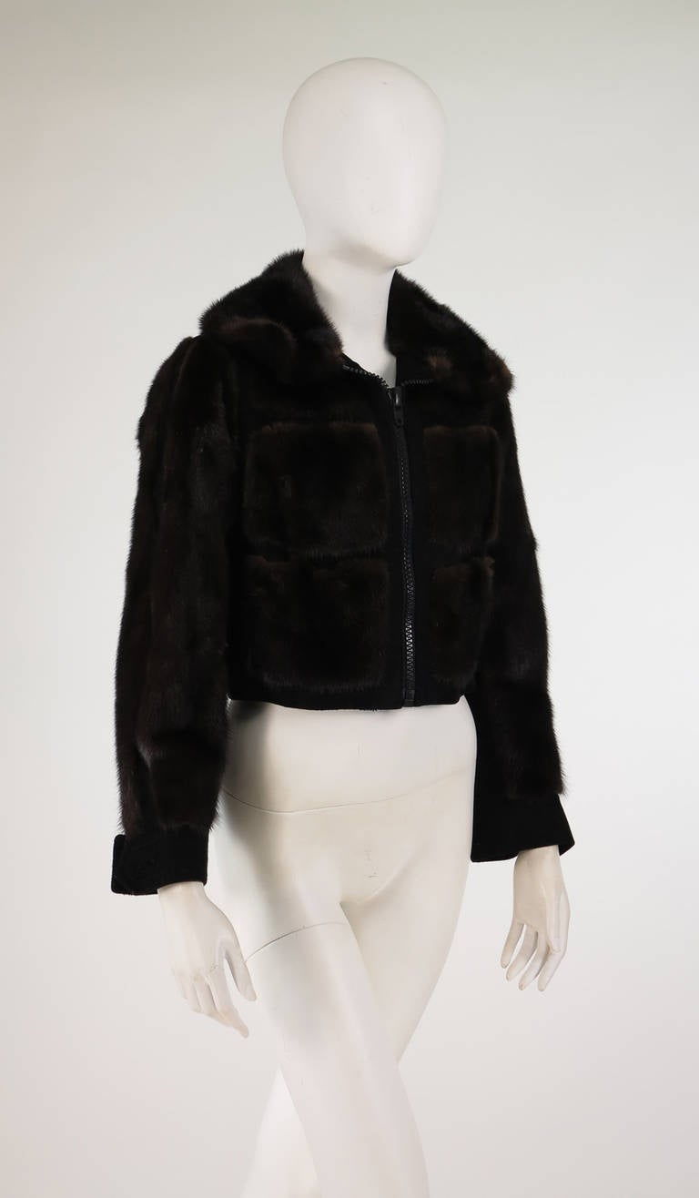 1970s BIRGER CHRISTENSEN black mink & suede cropped fur jacket 8