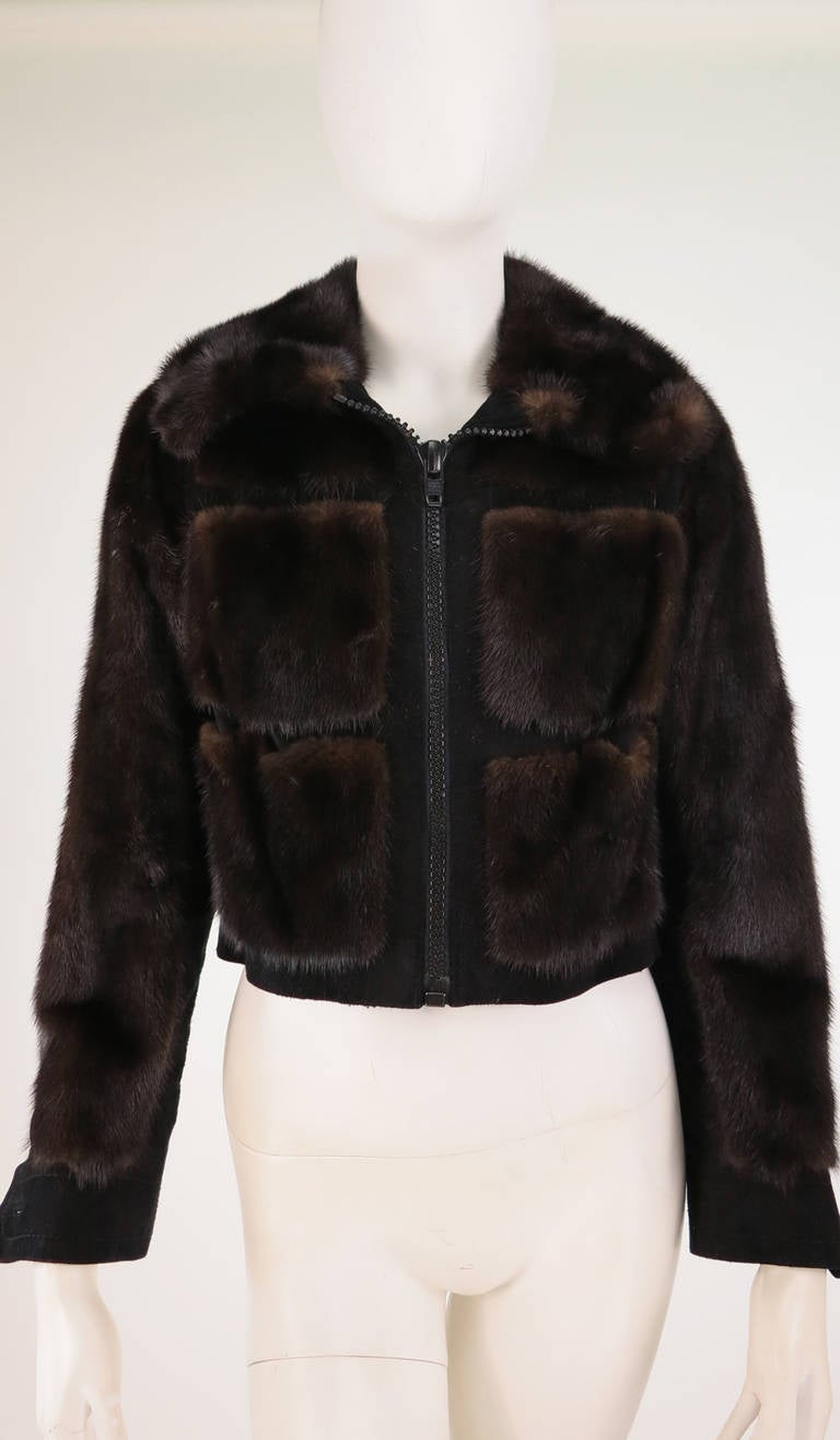 1970s BIRGER CHRISTENSEN black mink & suede cropped fur jacket 9