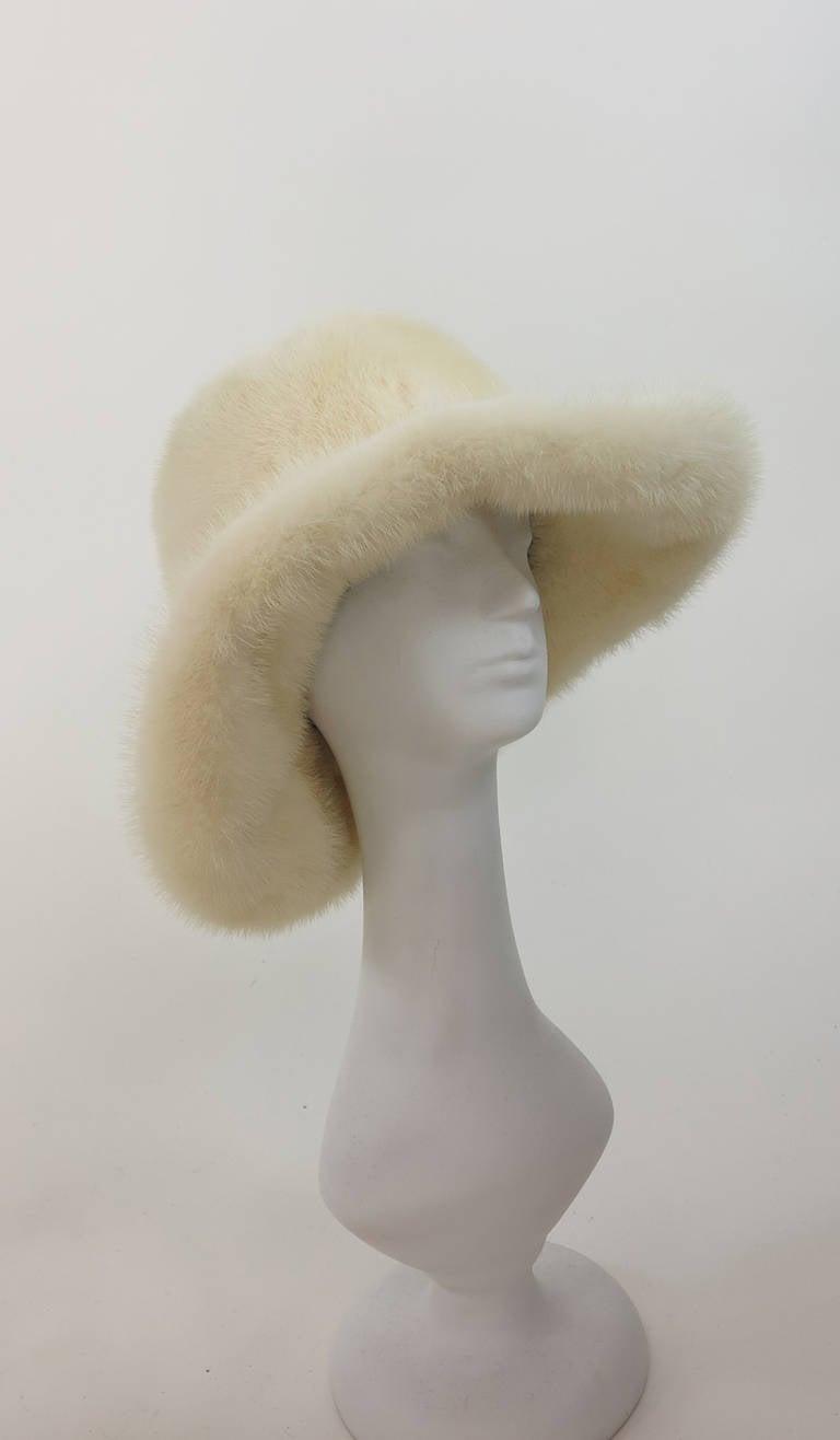 1970s Fabiani white mink fur wide brim hat 2