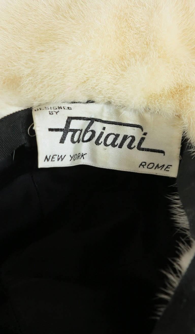 1970s Fabiani white mink fur wide brim hat For Sale 1