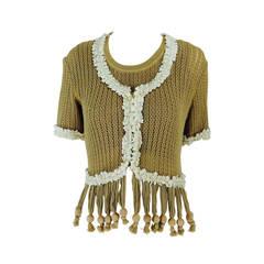 Moschino Nature Friendly Garment wooden bead fringe sweater twin set