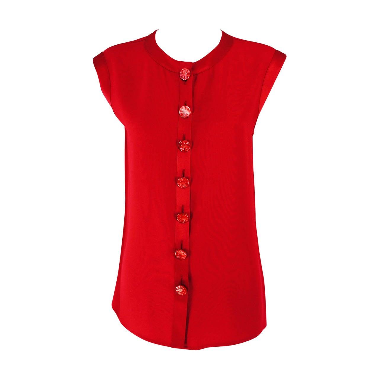 Yves St Laurent YSL Rive Gauche red satin back crepe sleeveless top 1