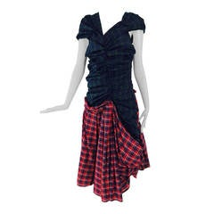 Comme des Garcons tartan/plaid dress in green & red 2005