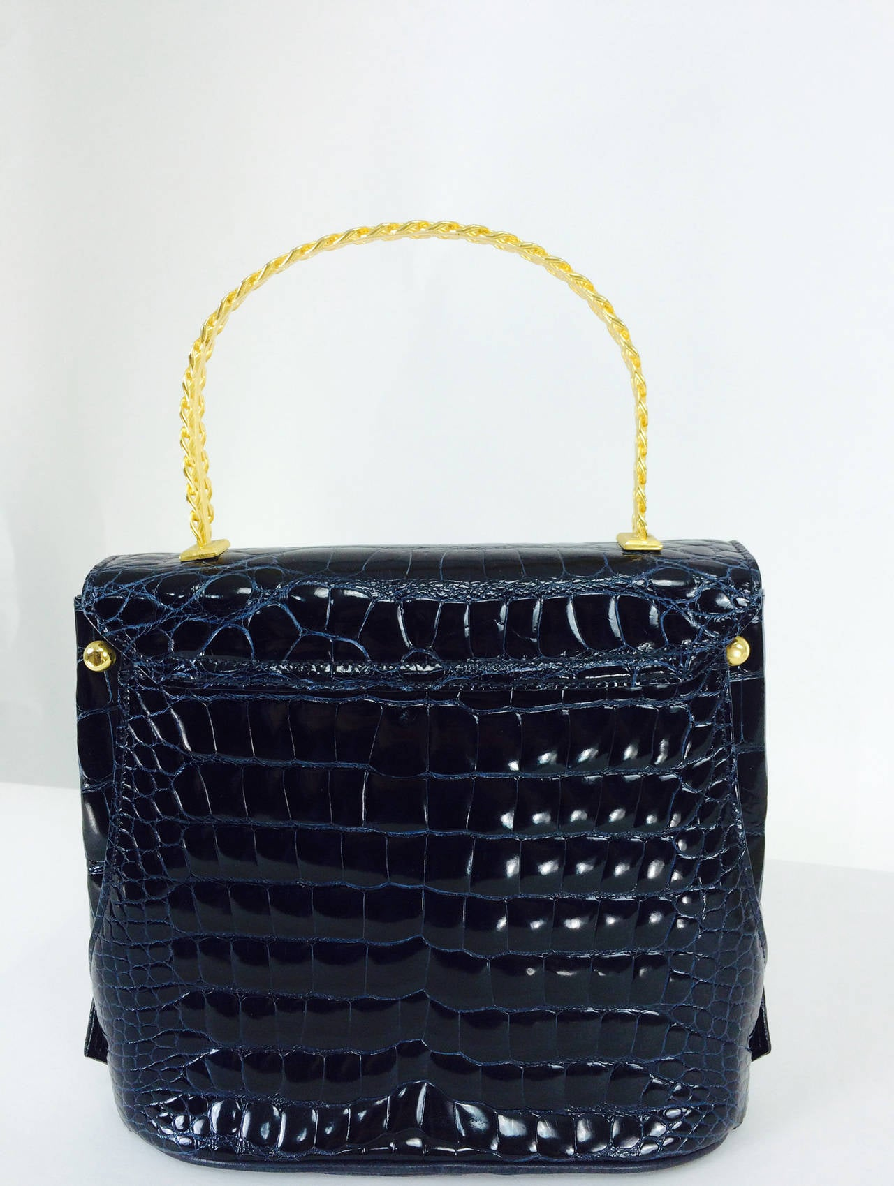Women's Lana Marks Lana of London navy blue glazed alligator handbag 1980s For Sale