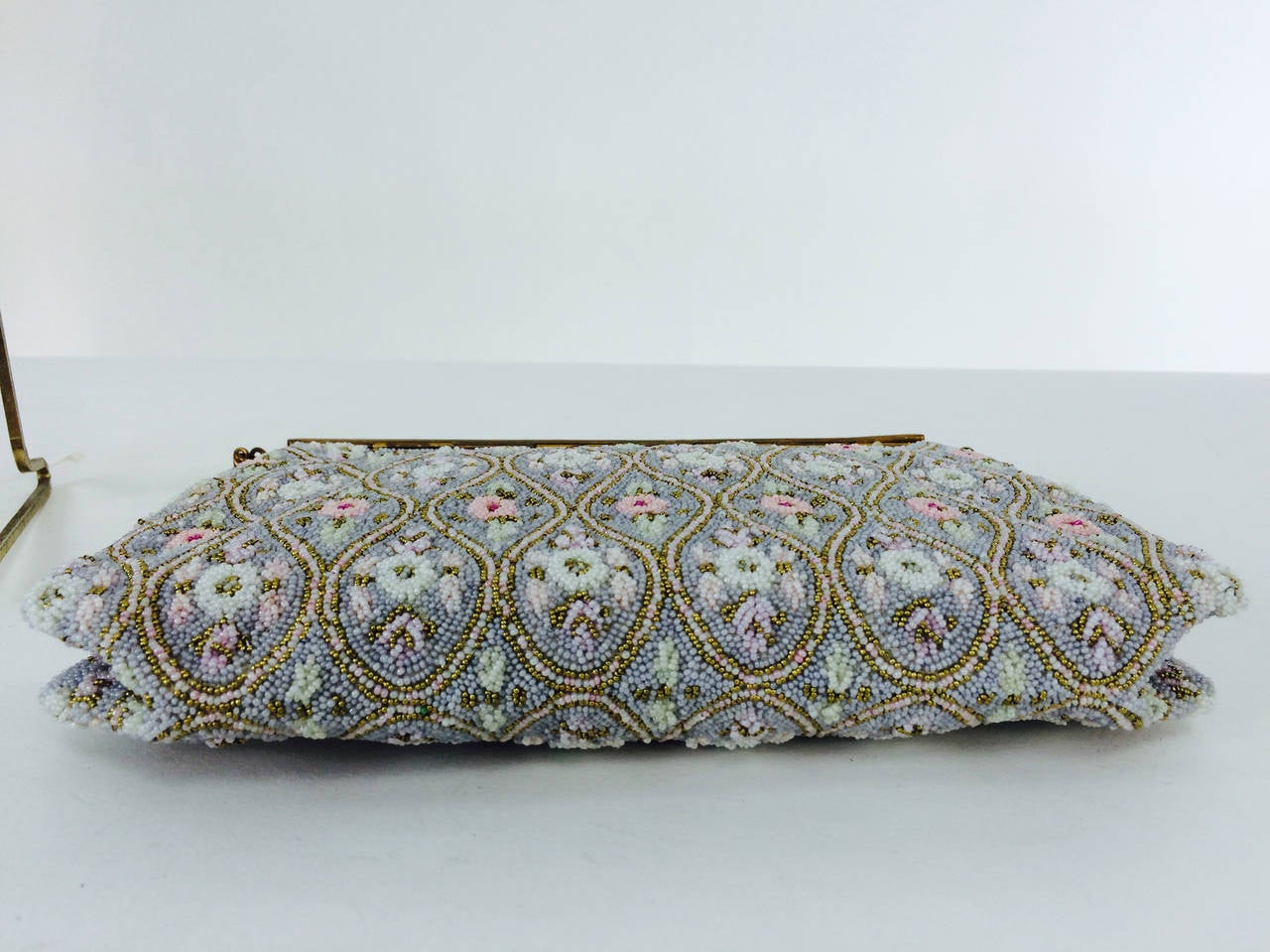 Pastel caviar beaded floral design evening bag made in France 1950s 8