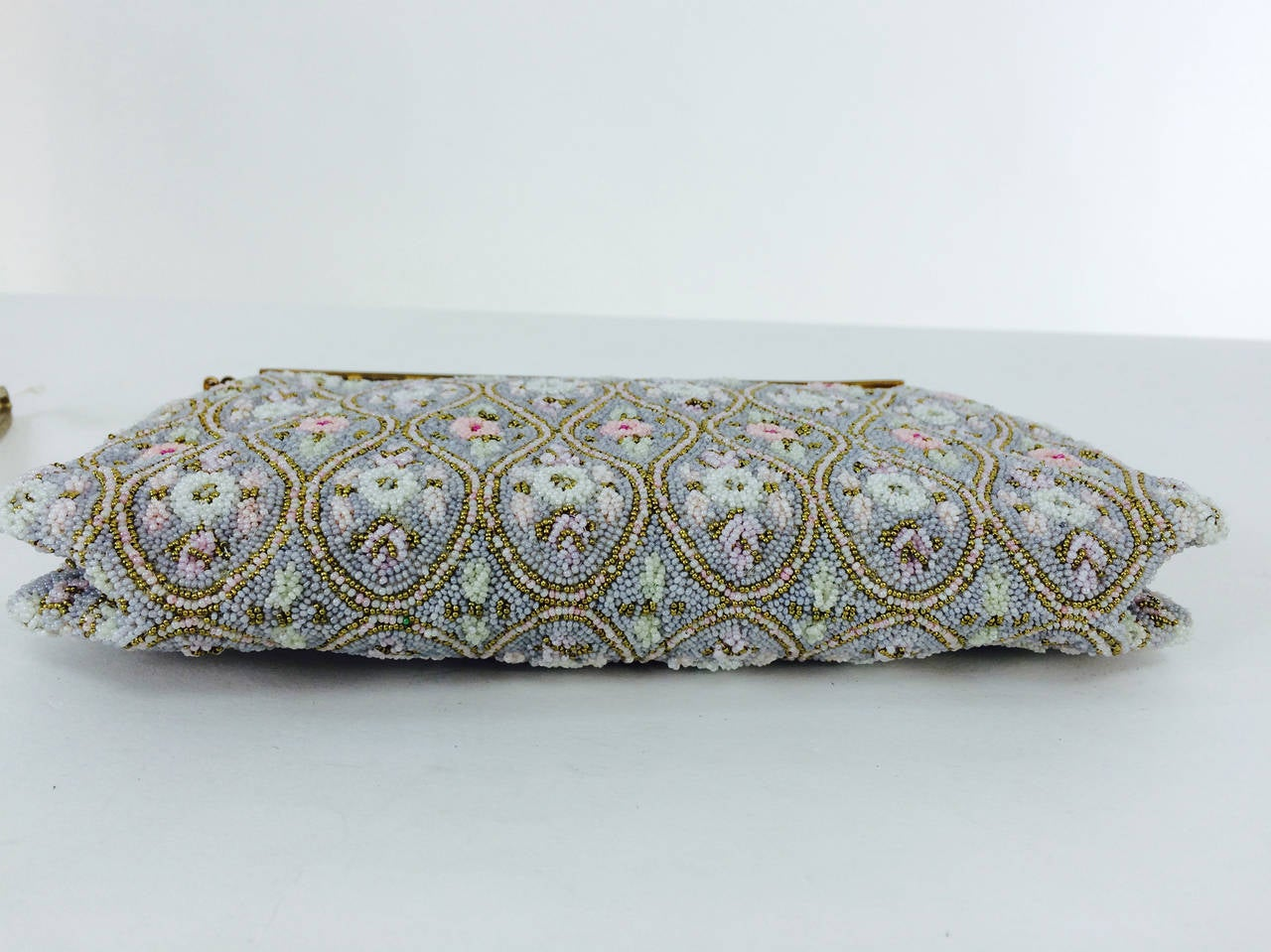 Pastel caviar beaded floral design evening bag made in France 1950s 7