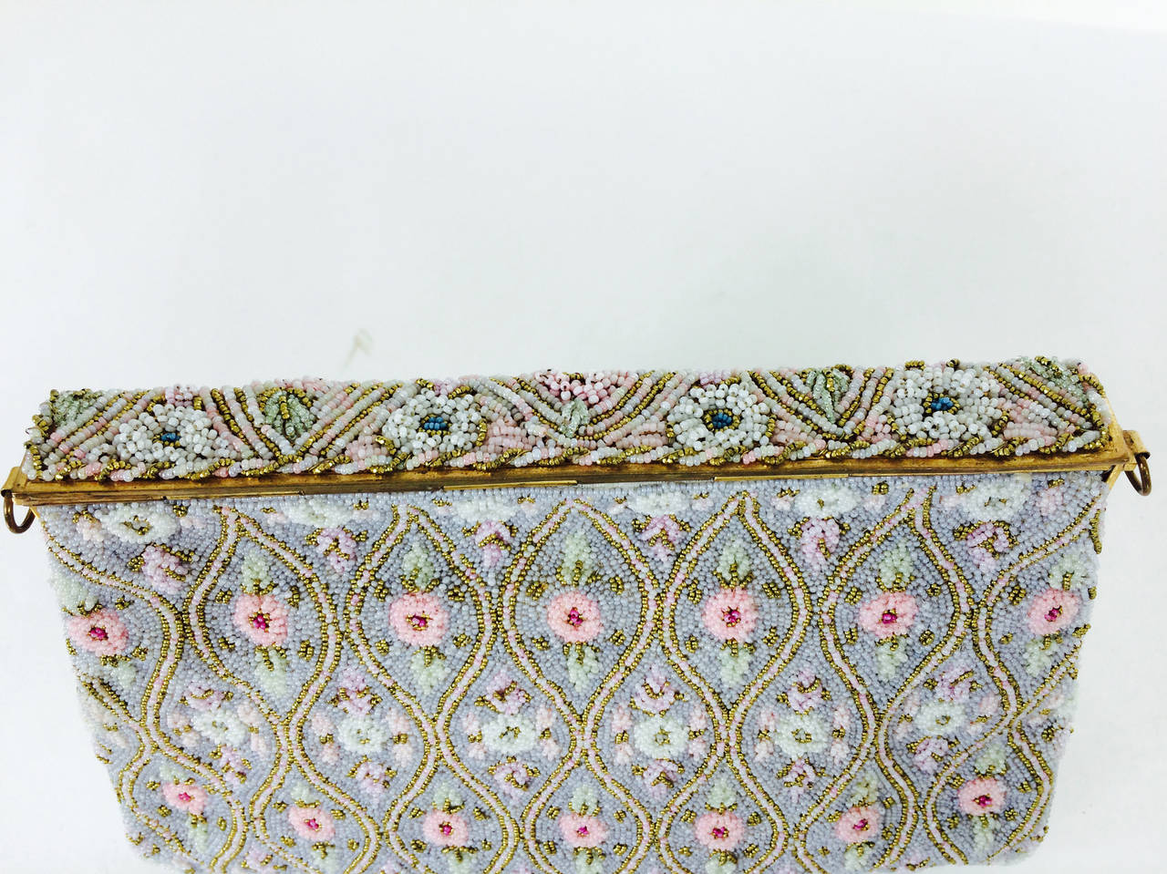 Pastel caviar beaded floral design evening bag made in France 1950s 6