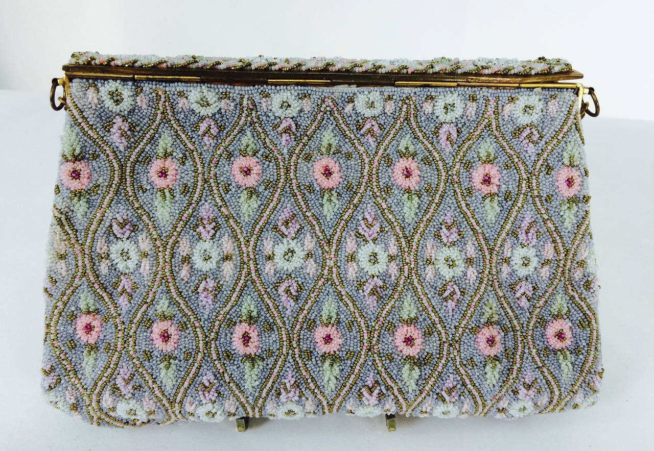 Pastel caviar beaded floral design evening bag made in France 1950s 4