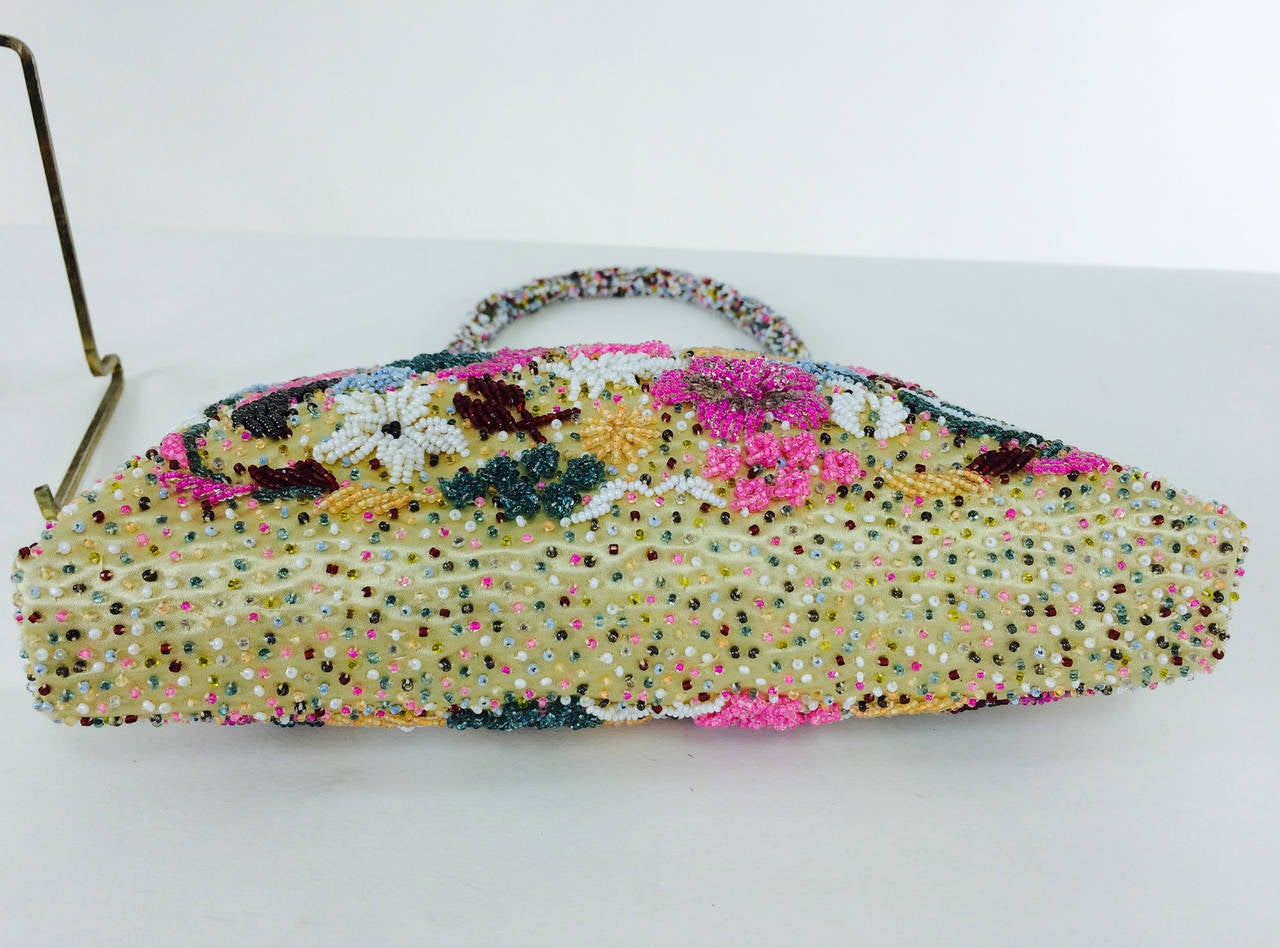 Bright confetti glass beaded evening bag 1950s 5