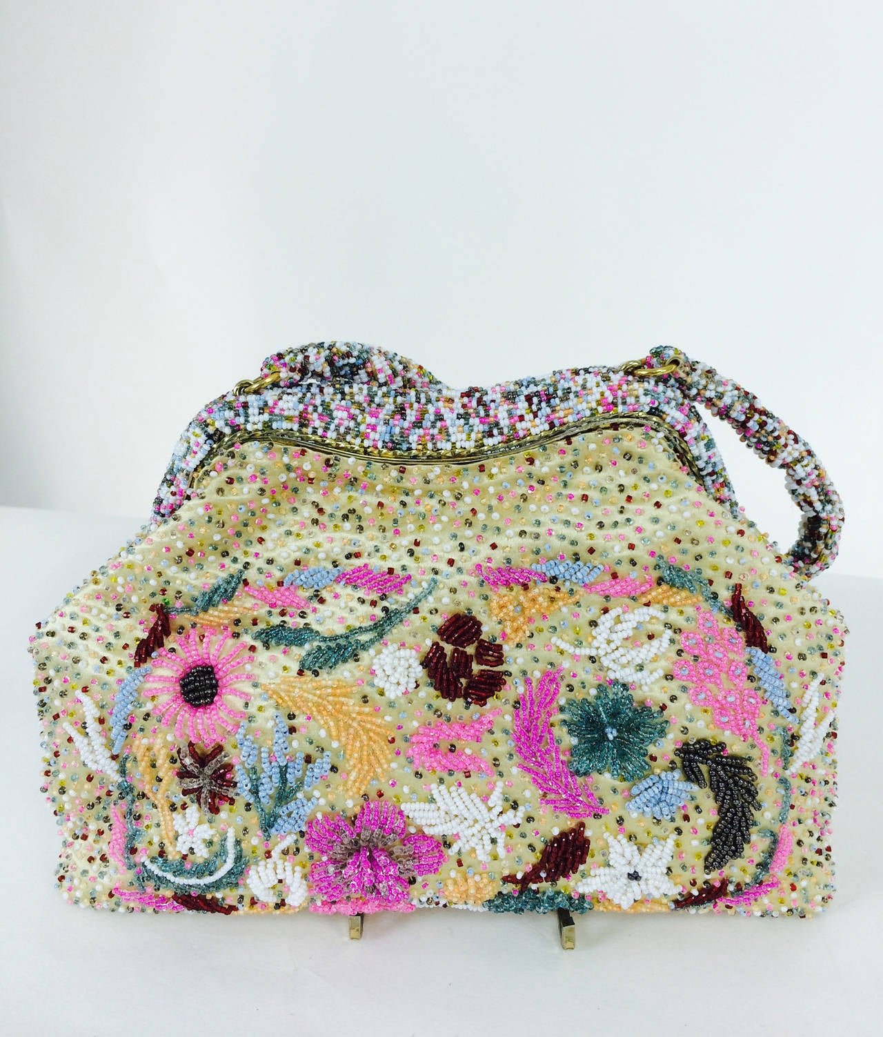 Bright confetti glass beaded evening bag 1950s 7
