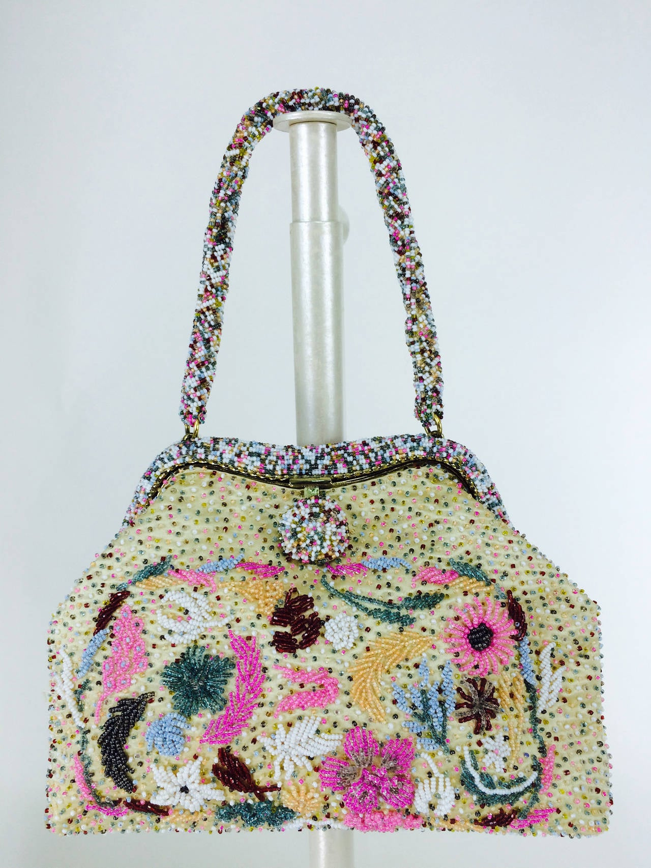 Bright confetti glass beaded evening bag 1950s 2