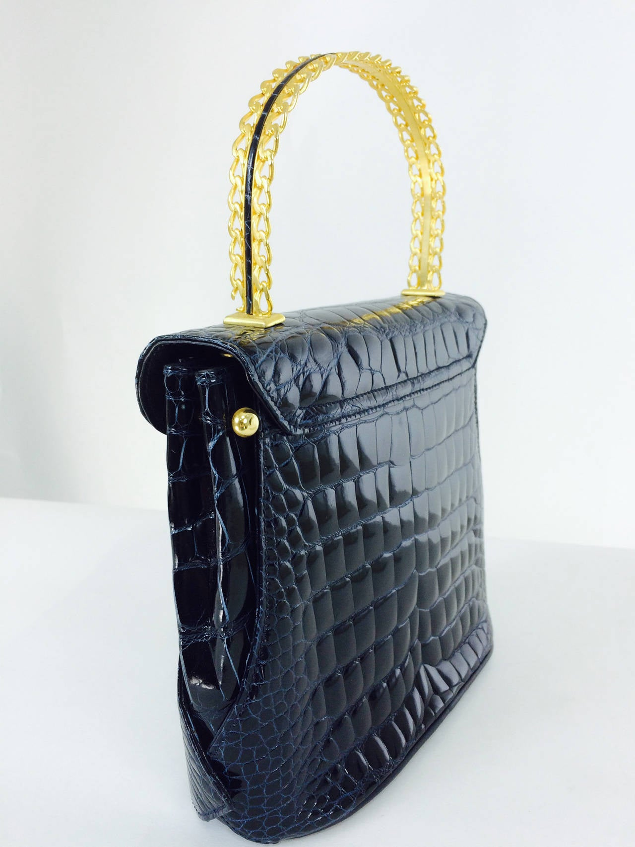 Lana Marks Lana of London navy blue glazed alligator handbag 1980s For Sale 1
