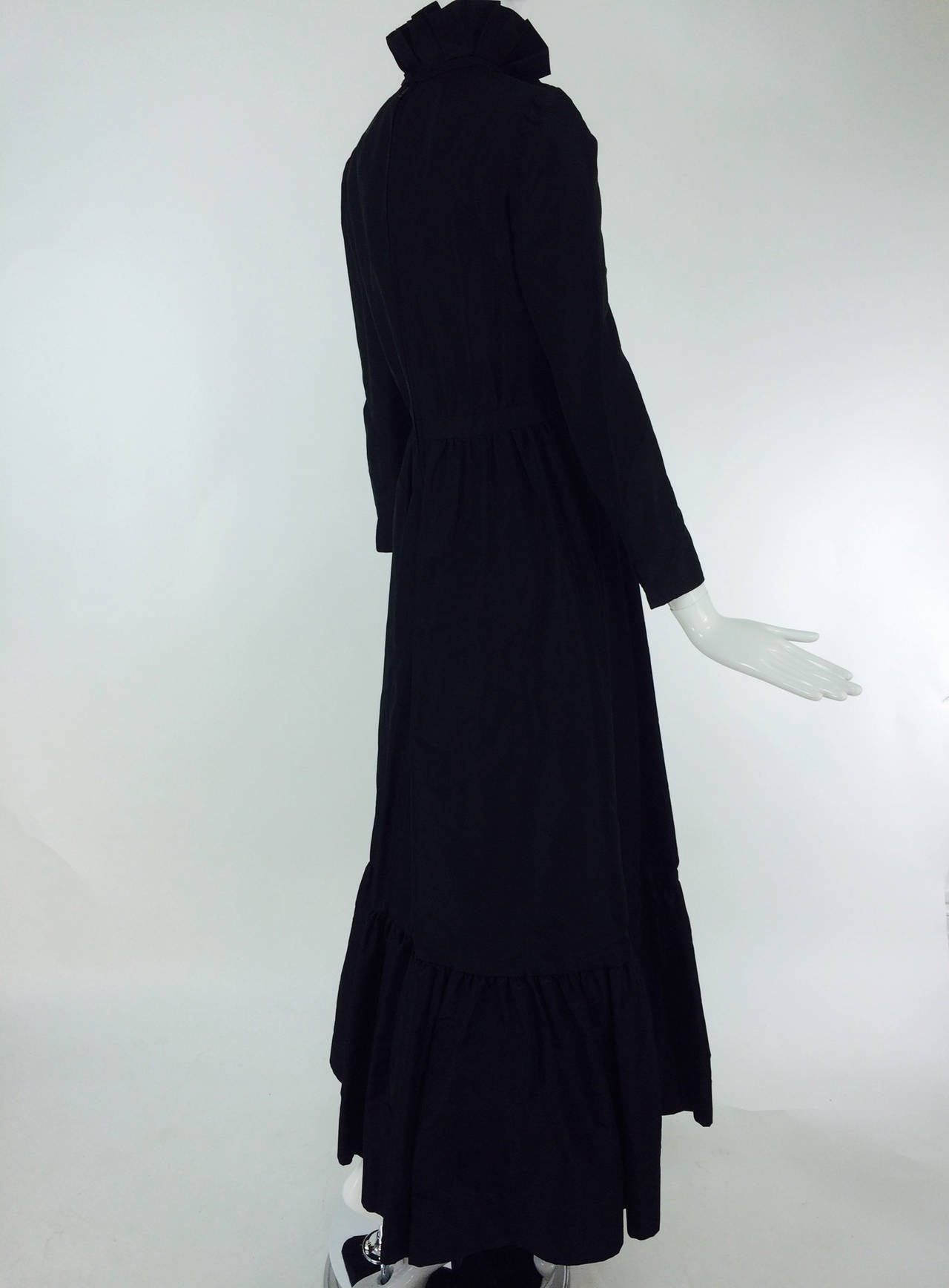 Shannon Rodgers for Jerry Silverman black Victorian style gown 1960s For Sale 2