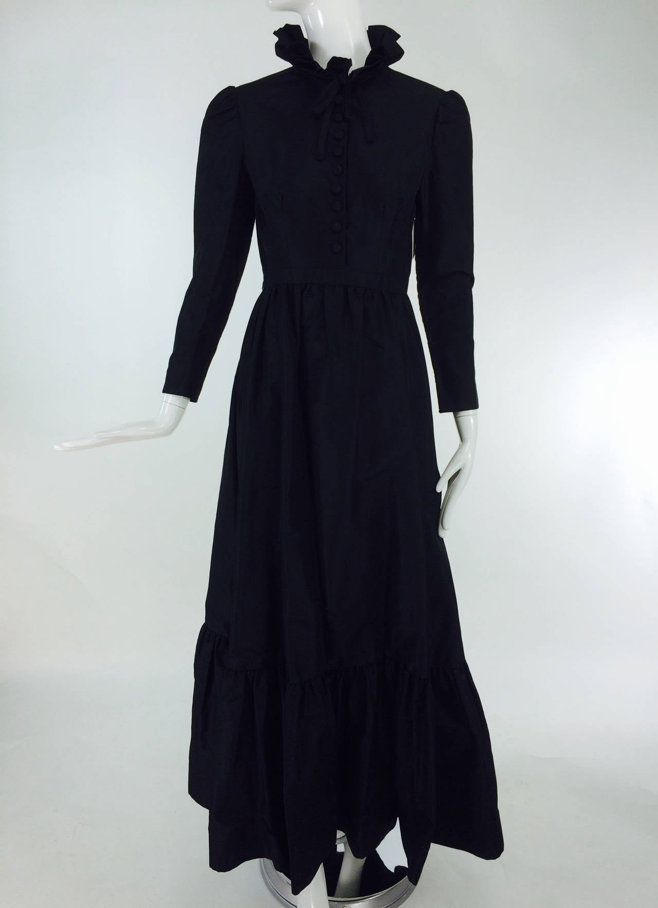 Shannon Rodgers for Jerry Silverman black Victorian style gown 1960s 8