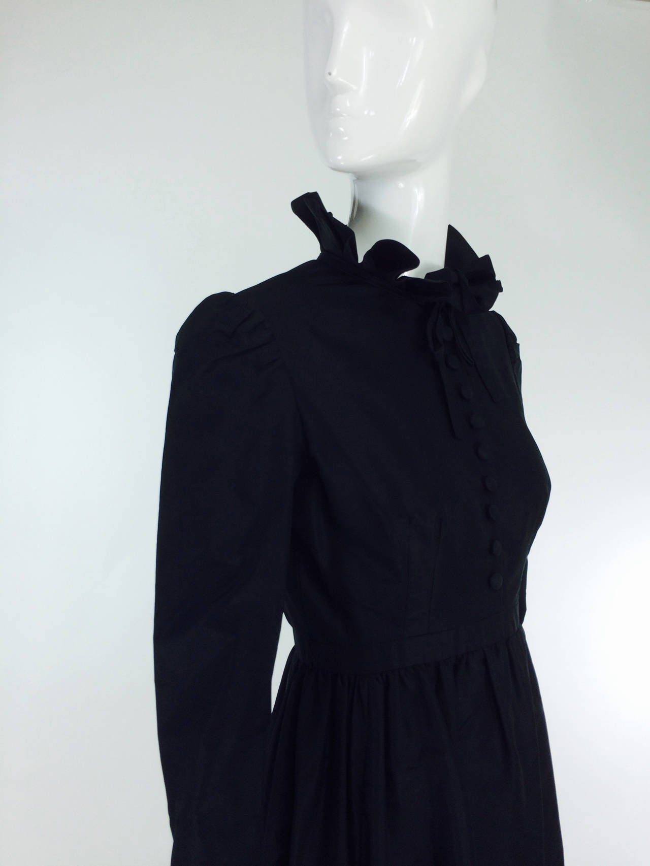 Shannon Rodgers for Jerry Silverman black Victorian style gown 1960s For Sale 1