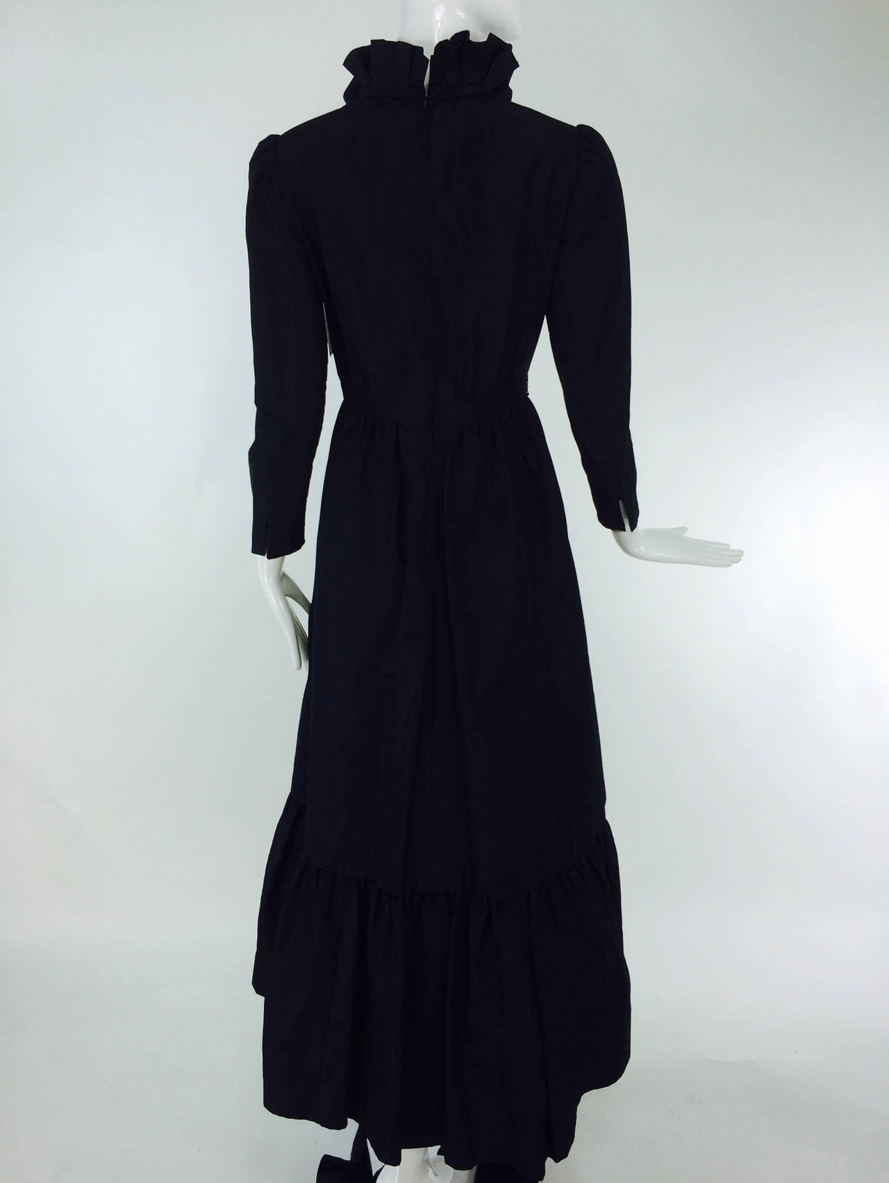 Women's Shannon Rodgers for Jerry Silverman black Victorian style gown 1960s For Sale