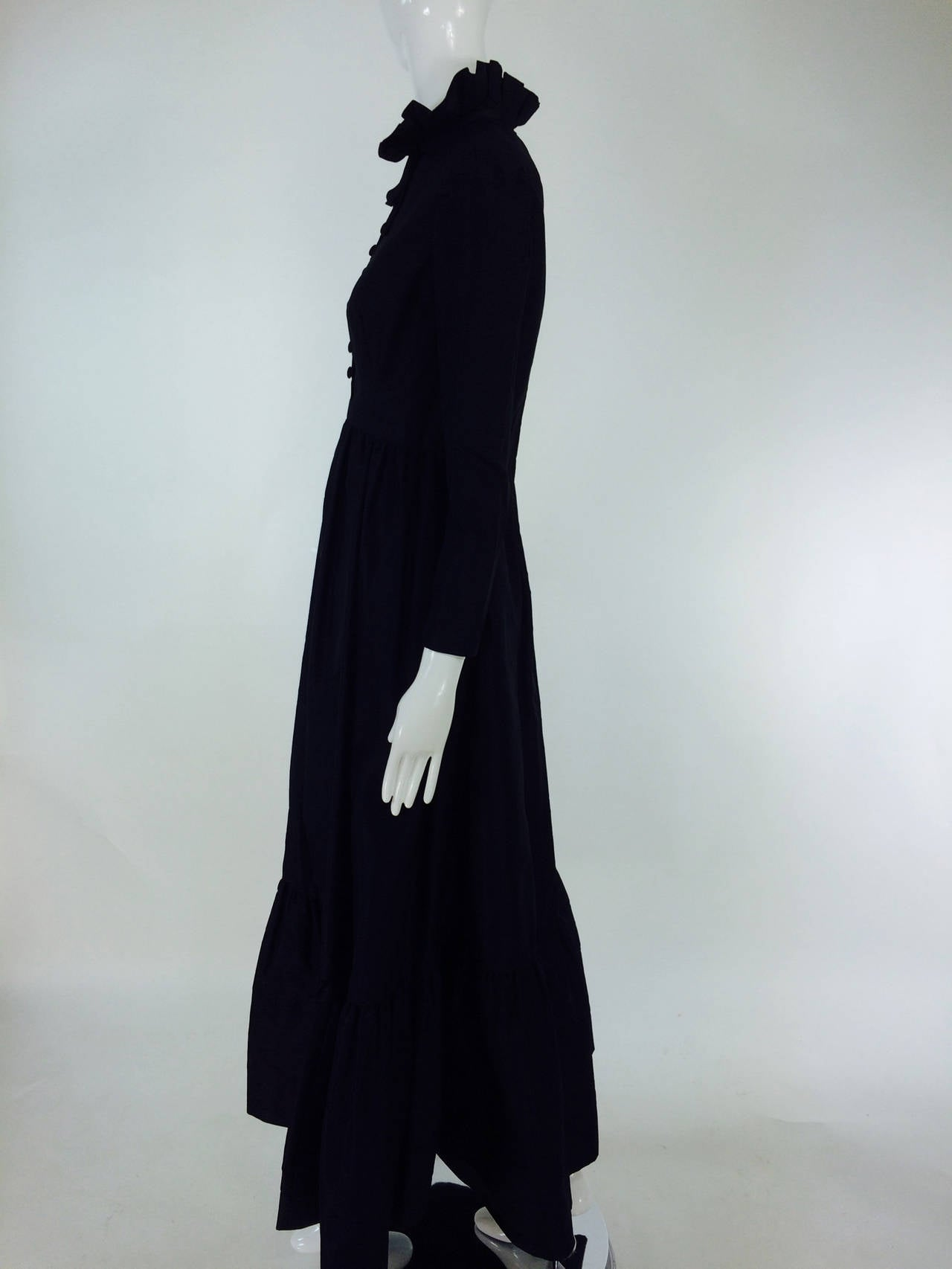 Black Shannon Rodgers for Jerry Silverman black Victorian style gown 1960s For Sale