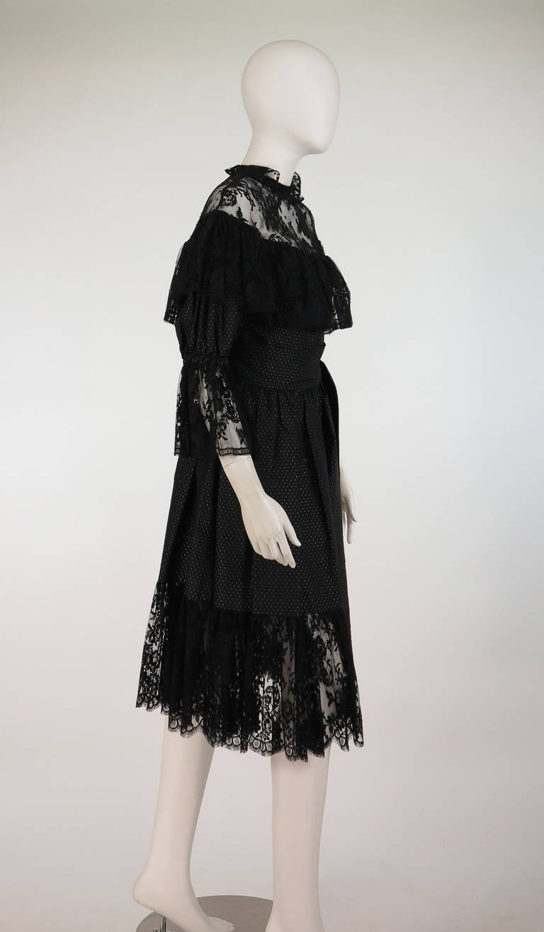 1970s Yves St Laurent 1976 rich peasant collection lace & silk cocktail dress In Excellent Condition For Sale In West Palm Beach, FL