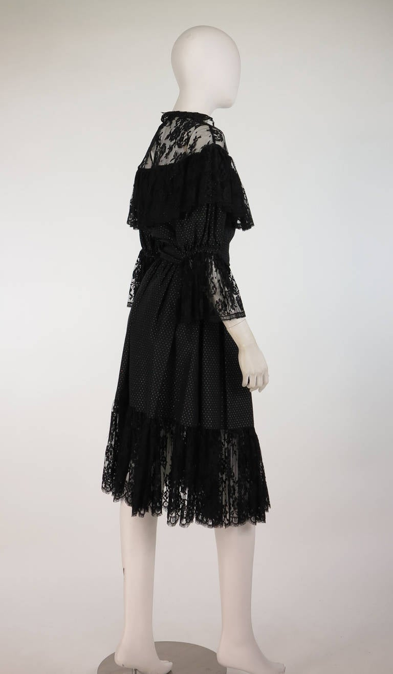 Women's 1970s Yves St Laurent 1976 rich peasant collection lace & silk cocktail dress For Sale