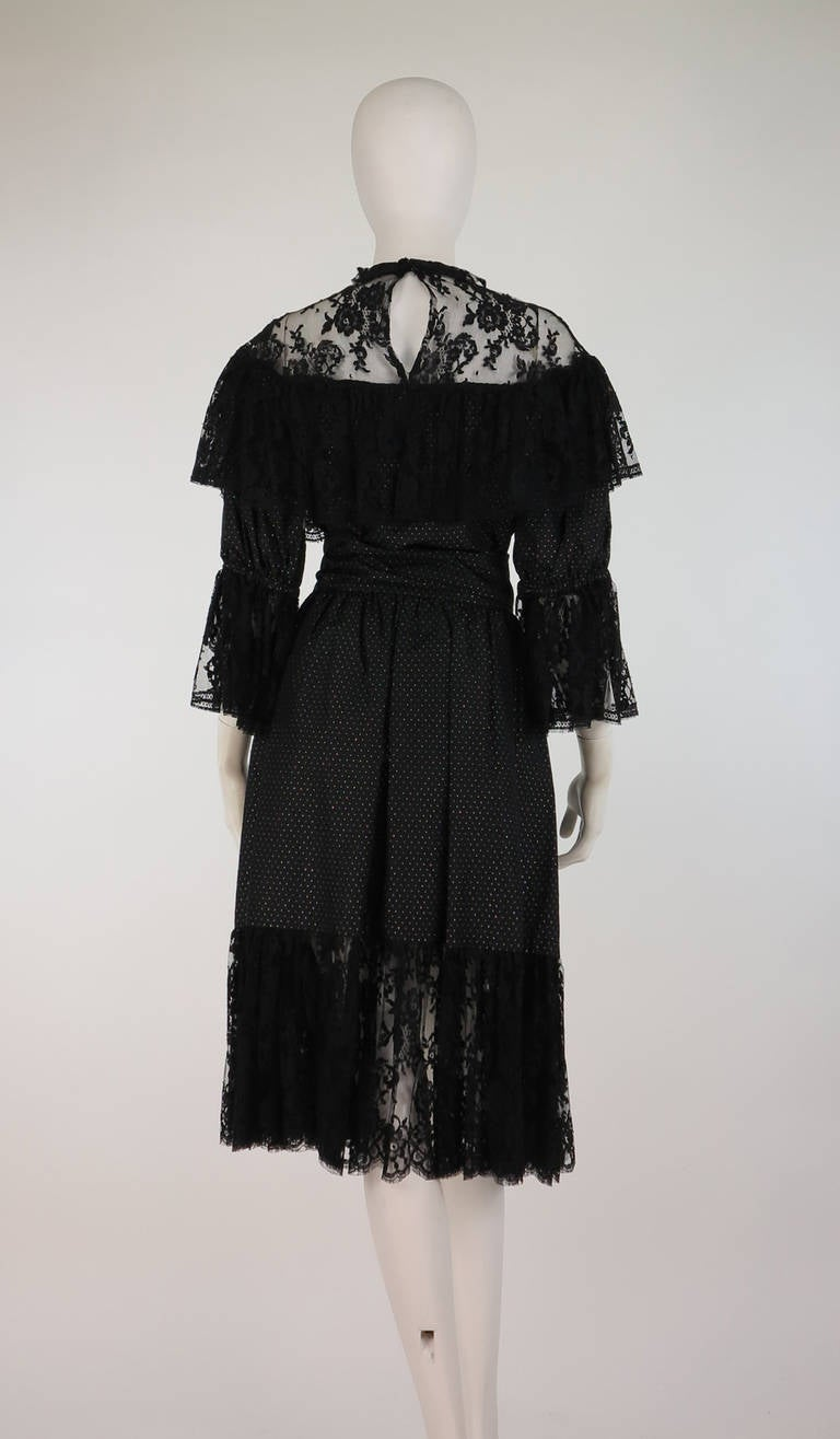 1970s Yves St Laurent 1976 rich peasant collection lace & silk cocktail dress For Sale 1
