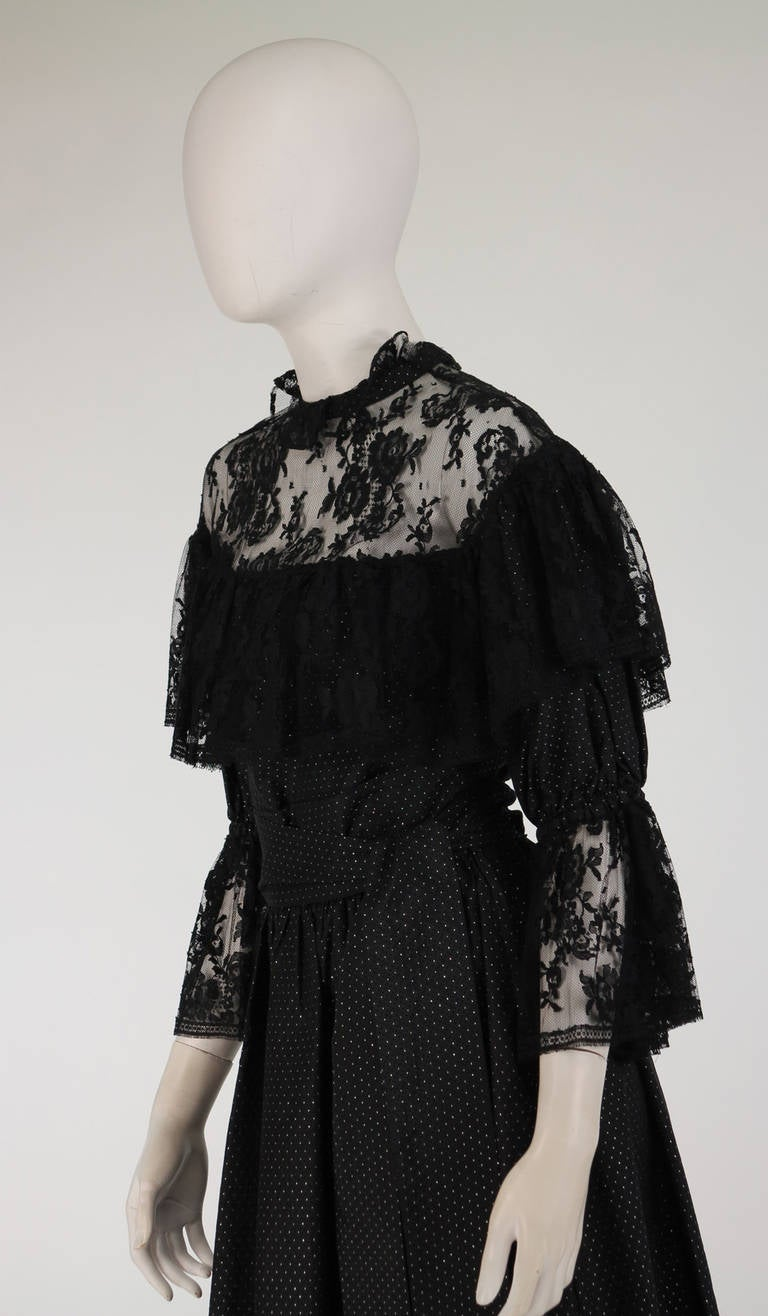 1970s Yves St Laurent 1976 rich peasant collection lace & silk cocktail dress For Sale 4