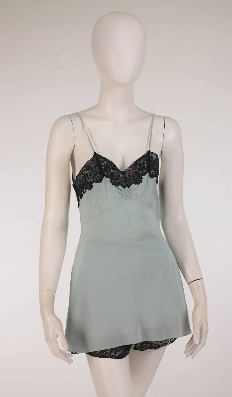 1930s Handmade Blue Silk crepe & black lace teddy & tap panties 2