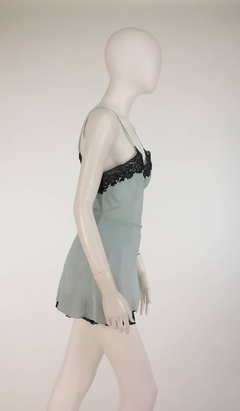 1930s Handmade Blue Silk crepe & black lace teddy & tap panties 3