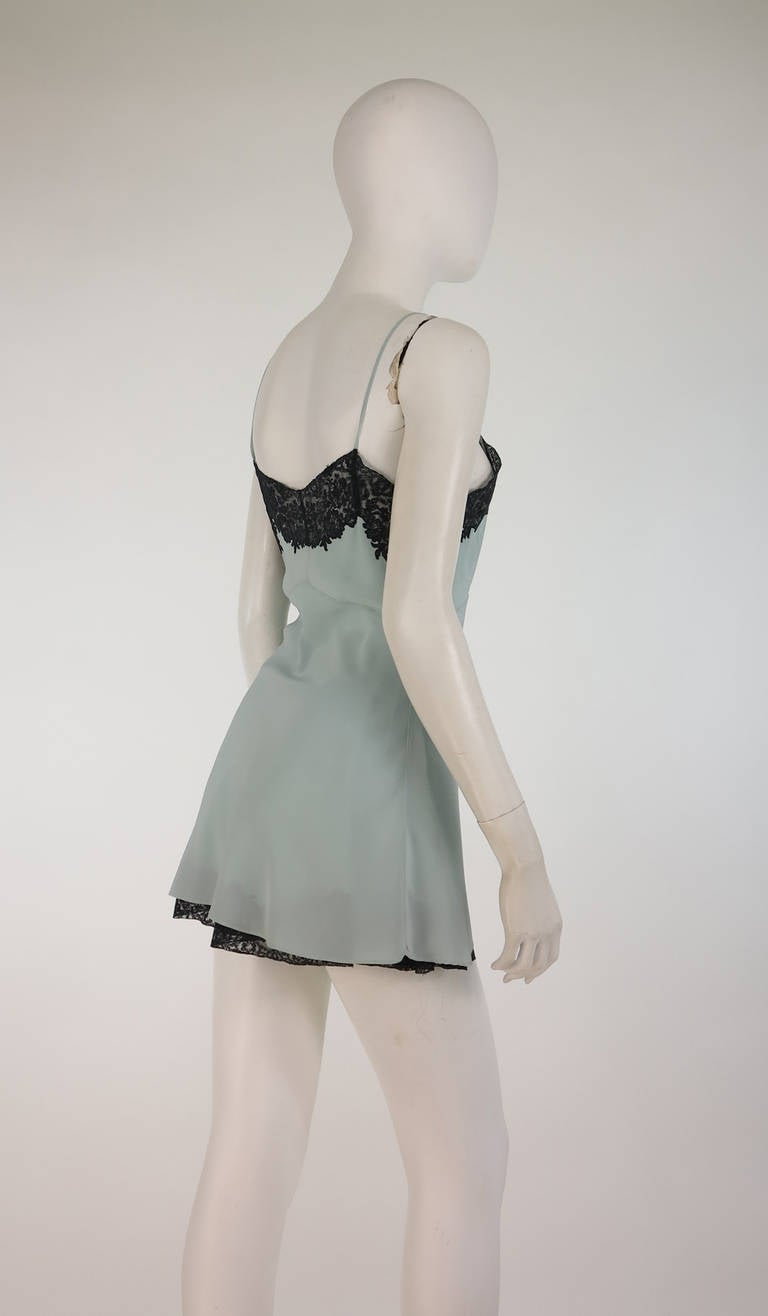 1930s Handmade Blue Silk crepe & black lace teddy & tap panties 4