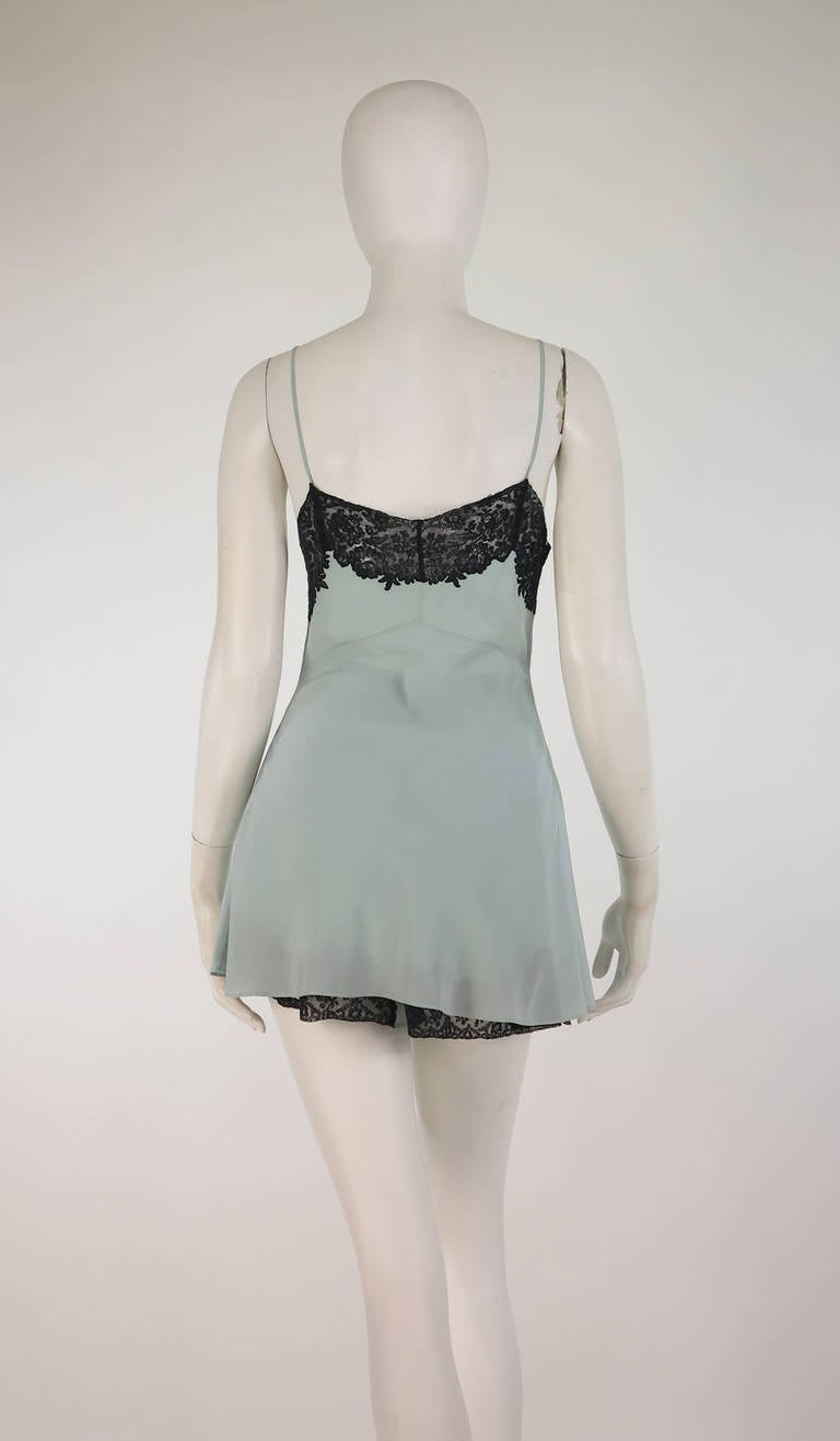 1930s Handmade Blue Silk crepe & black lace teddy & tap panties 5