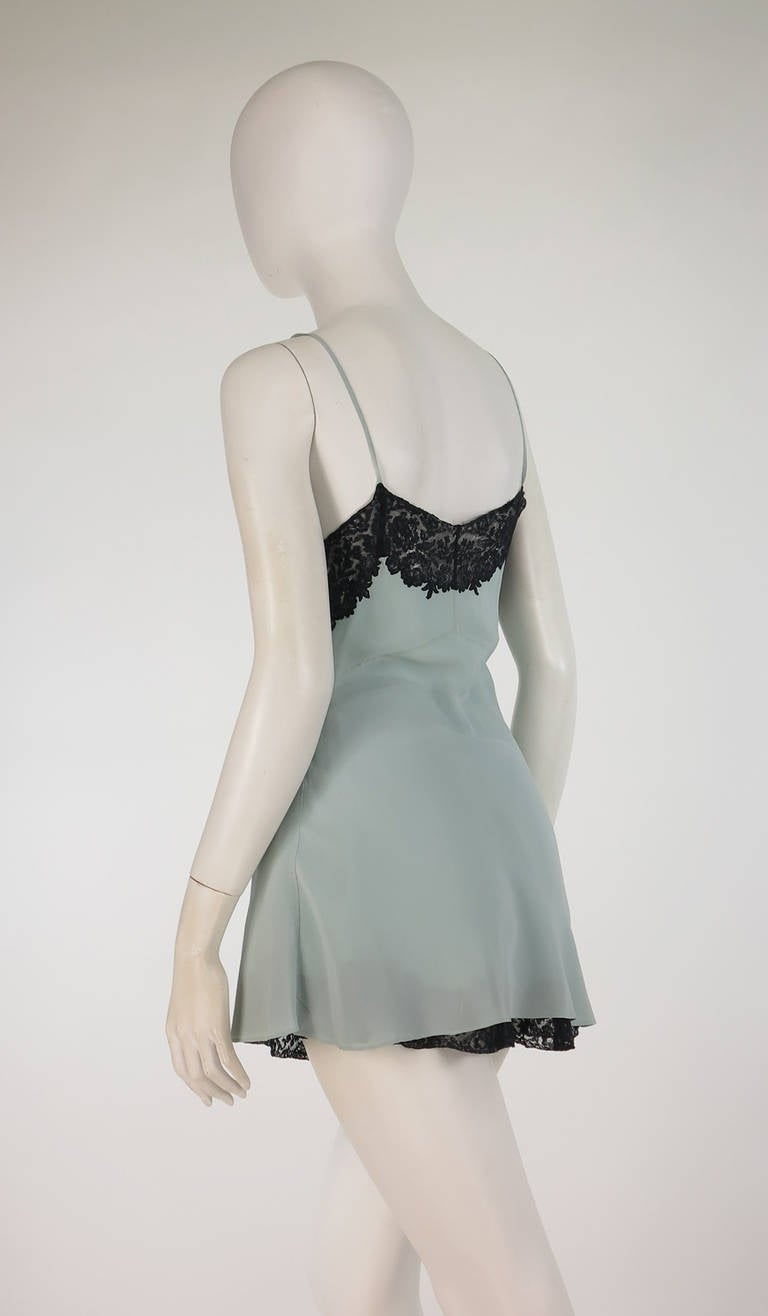 1930s Handmade Blue Silk crepe & black lace teddy & tap panties 6
