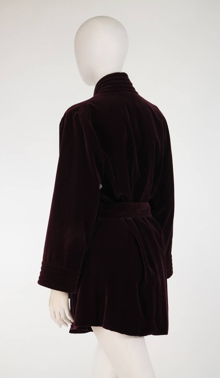 1970s Yves St Laurent YSL Le Smoking garnet velvet wrap jacket In Excellent Condition For Sale In West Palm Beach, FL