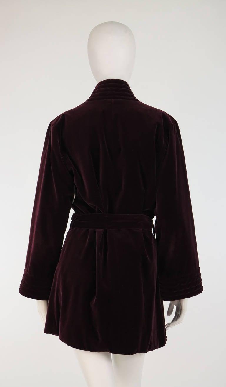 Women's 1970s Yves St Laurent YSL Le Smoking garnet velvet wrap jacket For Sale