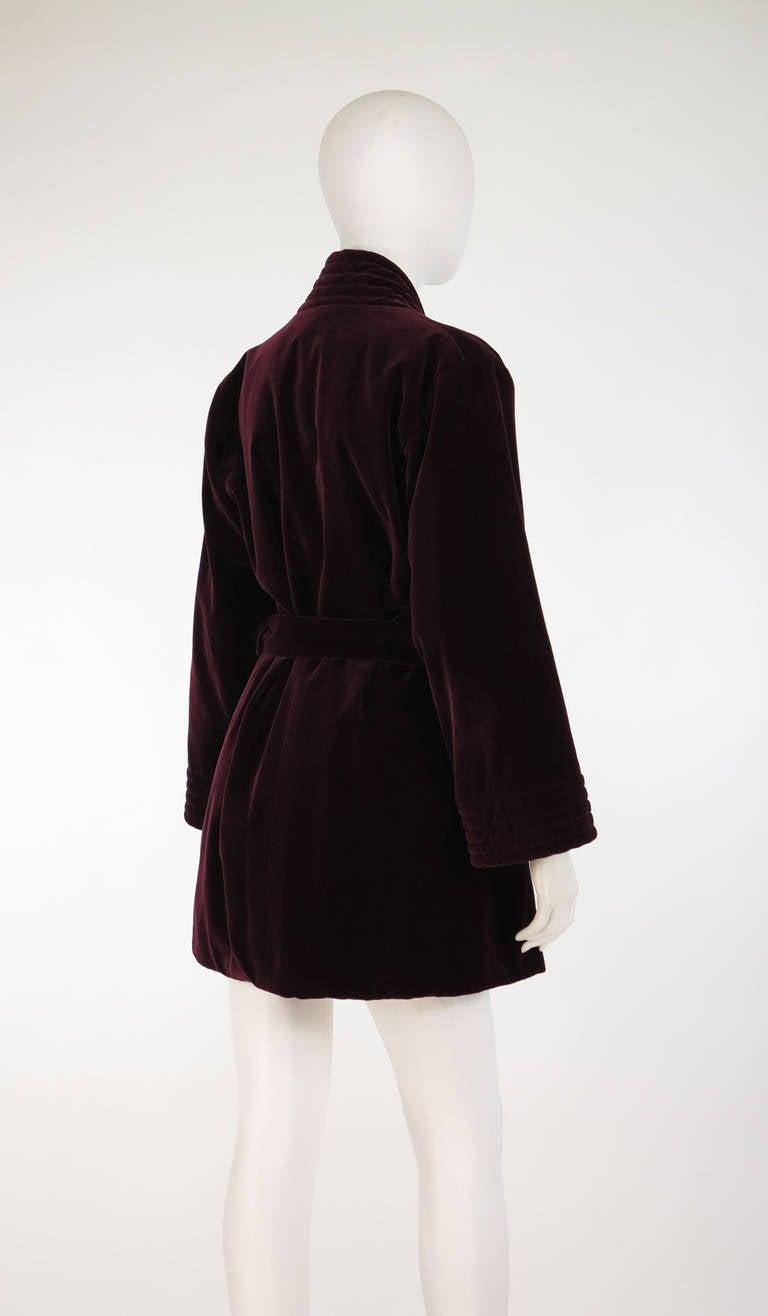 1970s Yves St Laurent YSL Le Smoking garnet velvet wrap jacket For Sale 1